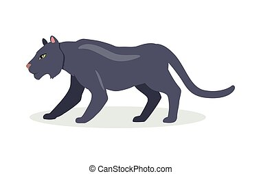 Black Jaguar Cartoon Icon in Flat Design - Black jaguar...