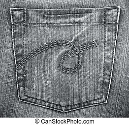 Black jeans fabric with pocket as background