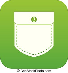 Black jeans pocket icon digital green