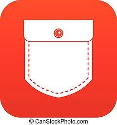 Black jeans pocket icon digital red