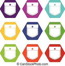 Black jeans pocket icon set color hexahedron