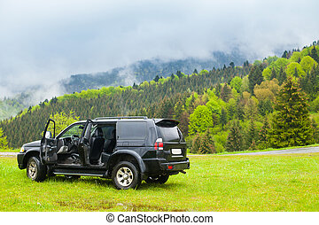 Black jeep in the coutryside