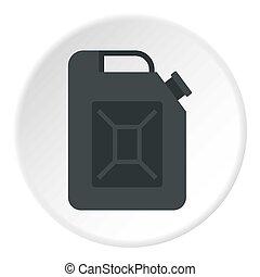 Black jerrycan icon circle
