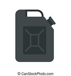 Black jerrycan icon, flat style