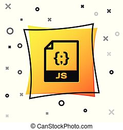 Black JS file document icon. Download js button icon isolated on white background. JS file symbol. Yellow square button. Vector Illustration
