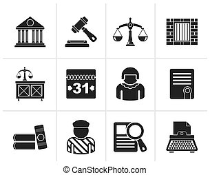 Justice and Judicial System icons - Black Justice and...