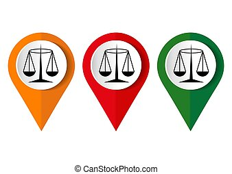 Black Justice scale icon on white background. Vector illustration.