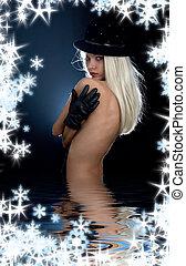 black kalap, leány, alatt, víz