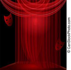 black , kamer, met, rood, draperen