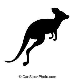 Black kangaroo silhouette isolated on white background. Vector Illustration