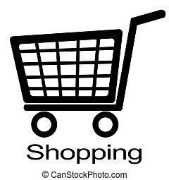black , kar, shoppen , witte , illustratie