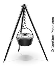 black kettle for campfire on tripod illustration isolated on...