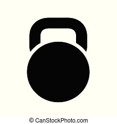 Black Kettlebell Icon, isolated on white background. Vector ...