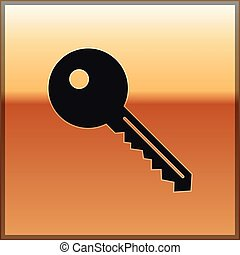 Black Key icon isolated on gold background. Vector Illustration