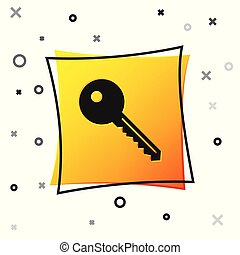 Black Key icon isolated on white background. Yellow square button. Vector Illustration