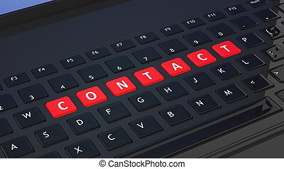 Black keyboard closeup with word Contact