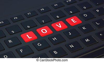 Black keyboard closeup with word Love