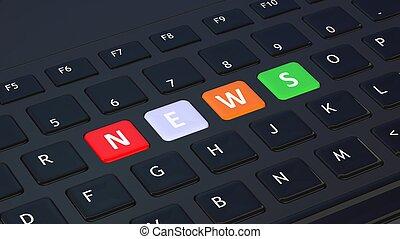 Black keyboard closeup with word News