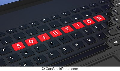 Black keyboard closeup with word Solution