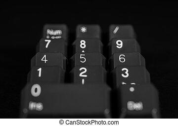 Black keyboard keys 1 2 3 4 5 6 7 8 9 num lock 0 / dec
