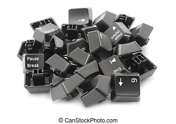 Black keyboard keys on white background