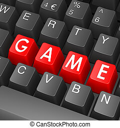 Black keyboard with game word
