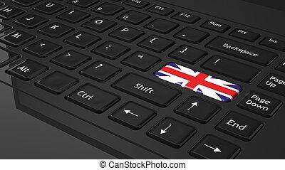 Black keyboard with United Kingdom flag on enter