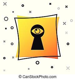 Black Keyhole with eye icon isolated on white background. The eye looks into the keyhole. Keyhole eye hole. Yellow square button. Vector Illustration