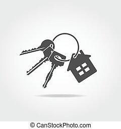 Black keys trinket - Black icon. Trinket with three keys and...