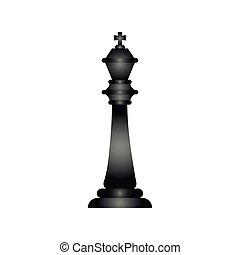 black king chess piece flat style icon
