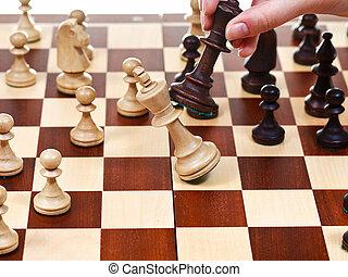 black king throws white king in chess game