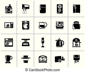 Black kitchen appliances and kitchenware icons