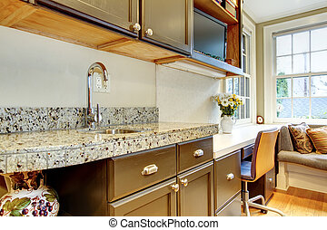 Black kitchen cabinets with marble counter top - Wood...