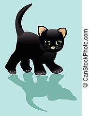 Black kitten looks at his shadow. Little surprised cat on lihht blue background. Halloween illustration cartoon.