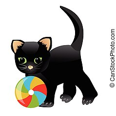 Black kitten playing with colorful ball. Little playful cat cartoon isolated on white background. Child illustration