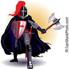Demonic black knight with axe and shield