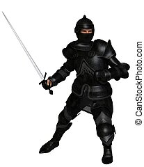 Black Knight in Medieval Armour, Attacking