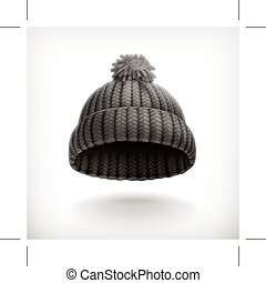 Black knitted cap, isolated on white background