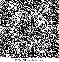 Black knitted lace pattern with flowers