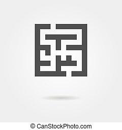 black labyrinth icon with shadow