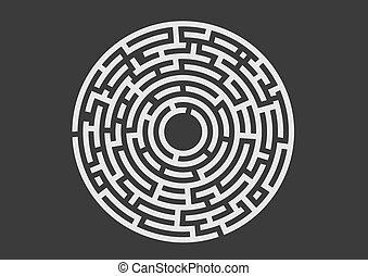 Black labyrinth logo on black background