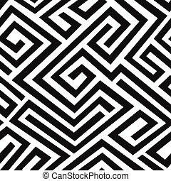 black labyrinth seamless pattern
