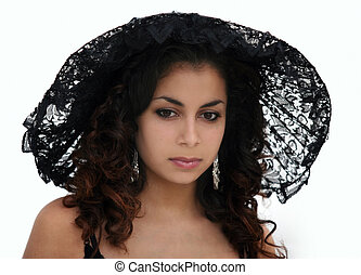 Black lace beauty - Beautiful woman in black lace hat
