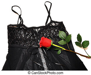 black lace corset and red rose