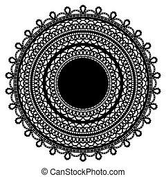 Black lace doily isolated on white background.