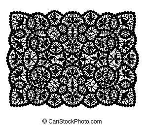 Black lace doily rectangular shape on a white background