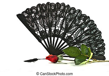 Black lace Fan rose