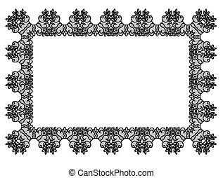 Black lace frame - Elegant black lace frame on a white...