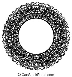 Black Lace Frame on White background. Openwork vintage round decoration.