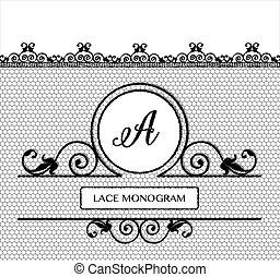 BlacK lace monogram A